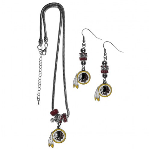 Washington Redskins Euro Bead Earrings & Necklace Set