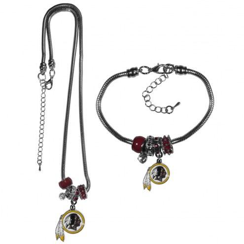 Washington Redskins Euro Bead Necklace & Bracelet Set
