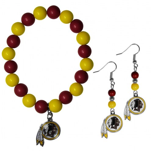 Washington Redskins Fan Bead Earrings & Bracelet Set
