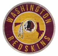 Washington Redskins Round State Wood Sign