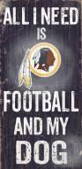 Washington Redskins Football & Dog Wood Sign