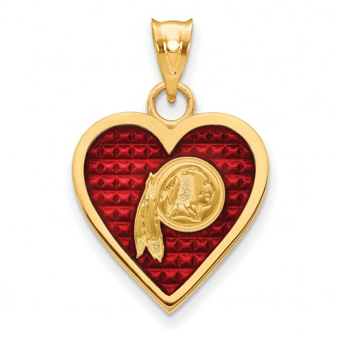 Washington Redskins Gold Plated Enameled Heart Pendant