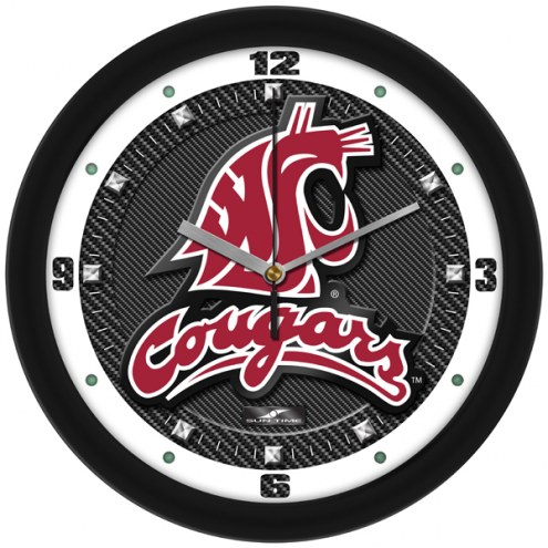Washington State Cougars Carbon Fiber Wall Clock