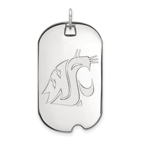 Washington State Cougars Sterling Silver Large Dog Tag