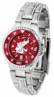 Washington State Cougars Competitor Steel AnoChrome Women's Watch - Color Bezel