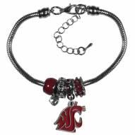 Washington State Cougars Euro Bead Bracelet