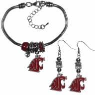 Washington State Cougars Euro Bead Earrings & Bracelet Set