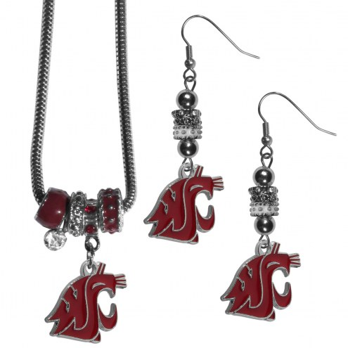 Washington State Cougars Euro Bead Earrings & Necklace Set
