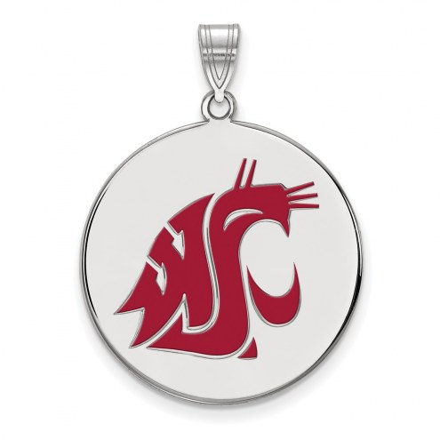 Washington State Cougars Sterling Silver Extra Large Enameled Disc Pendant