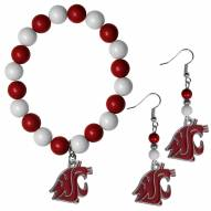 Washington State Cougars Fan Bead Earrings & Bracelet Set