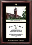 Washington State Cougars Gold Embossed Diploma Frame with Campus Images Lithograph