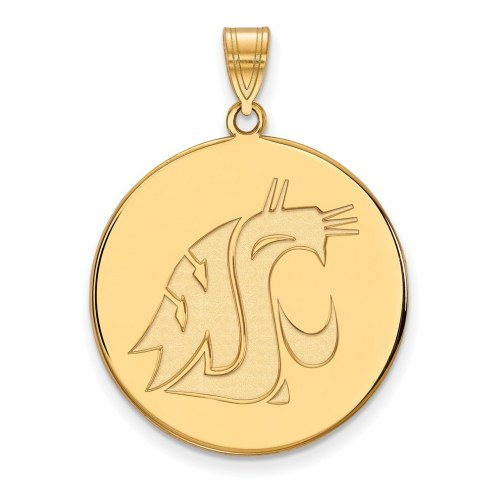 Washington State Cougars Sterling Silver Gold Plated Extra Large Disc Pendant