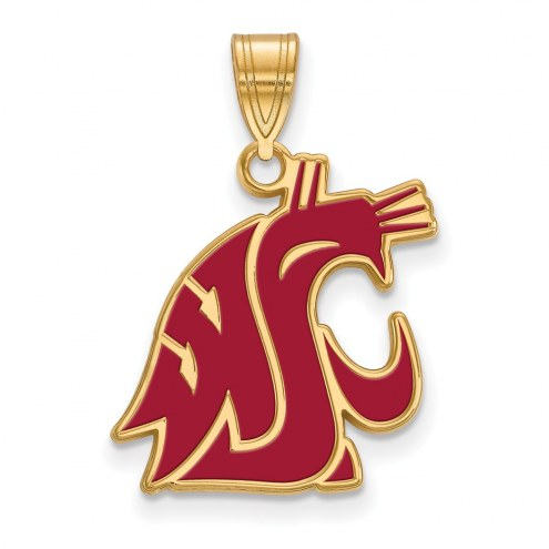 Washington State Cougars Sterling Silver Gold Plated Large Enameled Pendant