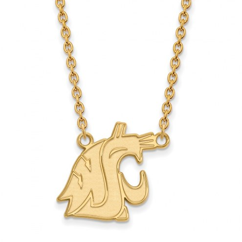 Washington State Cougars Sterling Silver Gold Plated Large Pendant Necklace
