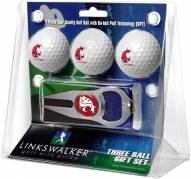 Washington State Cougars Golf Ball Gift Pack with Hat Trick Divot Tool