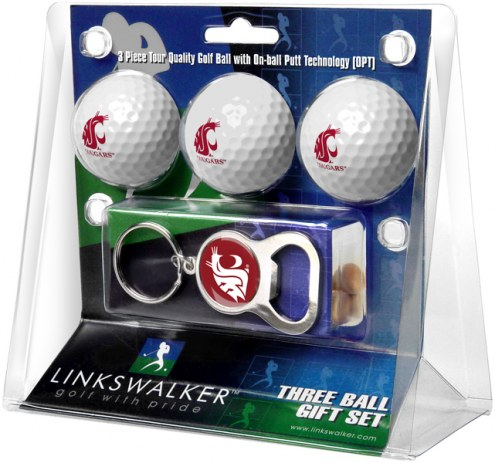 Washington State Cougars Golf Ball Gift Pack with Key Chain