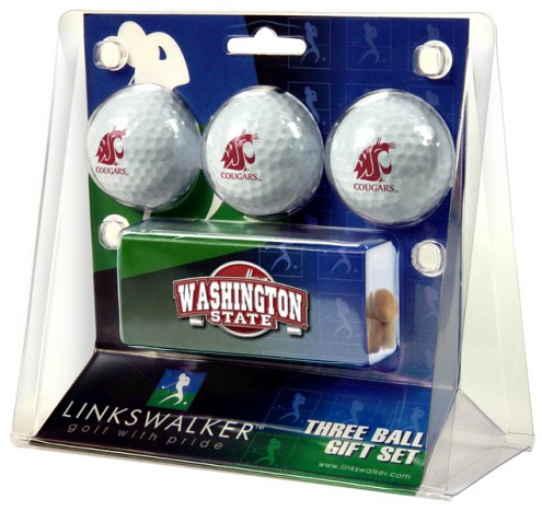 Washington State Cougars Golf Ball Gift Pack with Slider Clip
