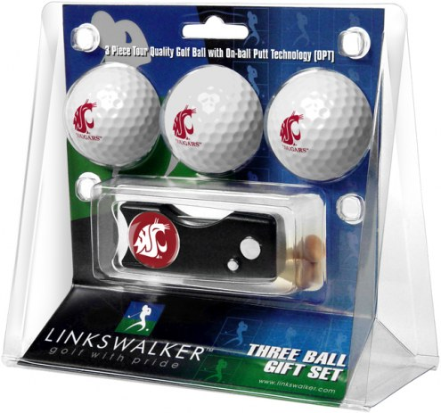 Washington State Cougars Golf Ball Gift Pack with Spring Action Divot Tool