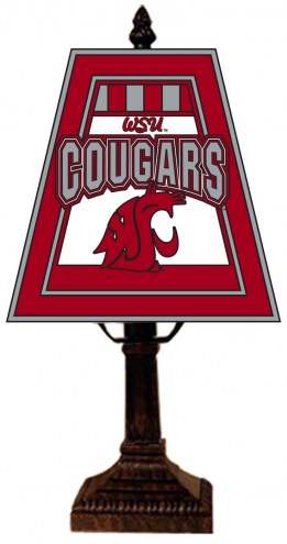 Washington State Cougars Hand-Painted Art Glass Table Lamp