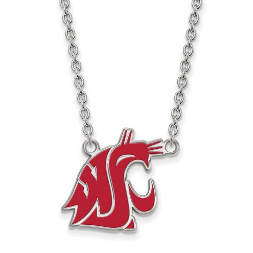 Washington State Cougars Sterling Silver Large Enameled Pendant Necklace