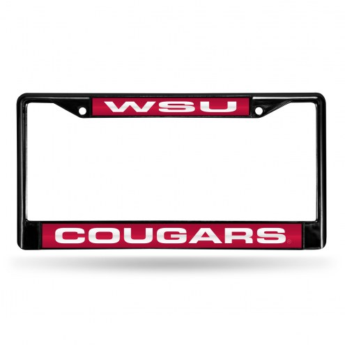 Washington State Cougars Laser Black License Plate Frame