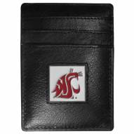 Washington State Cougars Leather Money Clip/Cardholder in Gift Box