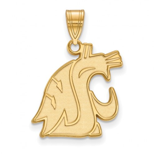 Washington State Cougars NCAA Sterling Silver Gold Plated Large Pendant