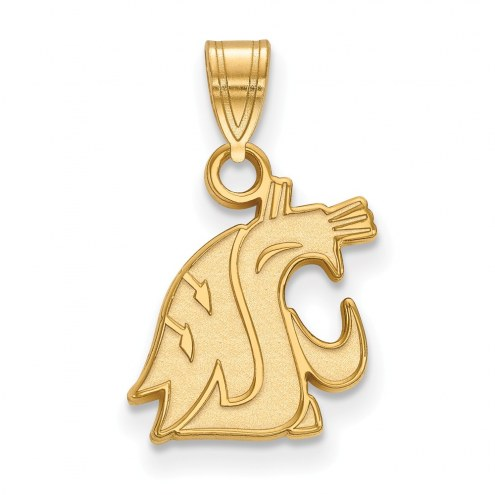 Washington State Cougars NCAA Sterling Silver Gold Plated Small Pendant