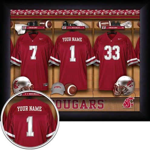 Washington State Cougars Personalized Locker Room 11 x 14 Framed Photograph