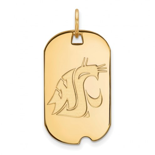Washington State Cougars Sterling Silver Gold Plated Small Dog Tag