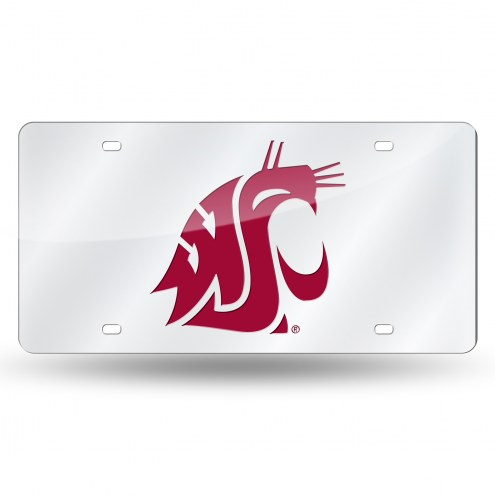 Washington State Cougars Silver Laser License Plate
