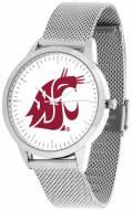 Washington State Cougars Silver Mesh Statement Watch