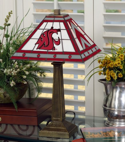 Washington State Cougars Stained Glass Mission Table Lamp