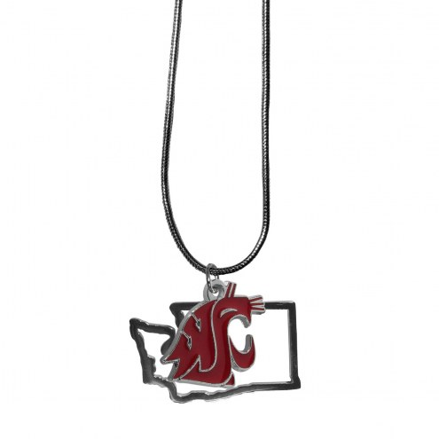 Washington State Cougars State Charm Necklace
