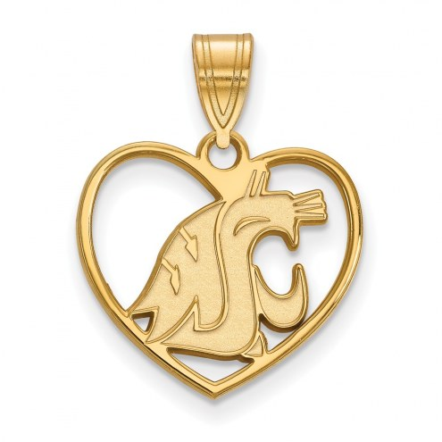 Washington State Cougars Sterling Silver Gold Plated Heart Pendant