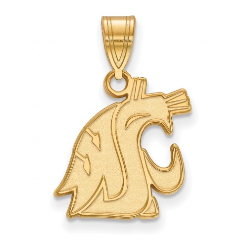 Washington State Cougars Sterling Silver Gold Plated Medium Pendant