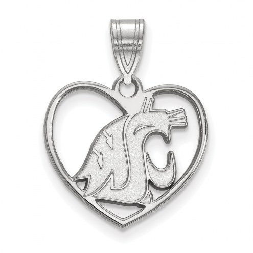Washington State Cougars Sterling Silver Heart Pendant