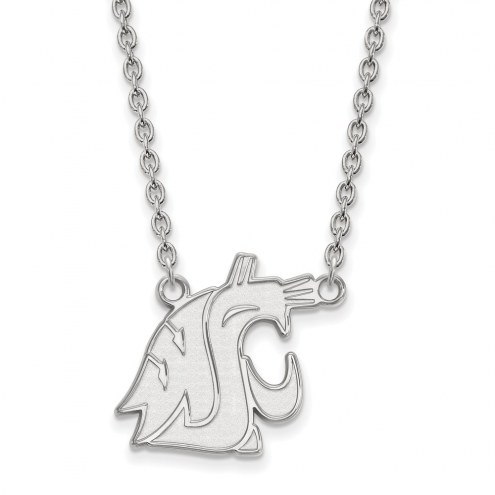 Washington State Cougars Sterling Silver Large Pendant Necklace