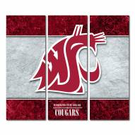 Washington State Cougars Triptych Double Border Canvas Wall Art