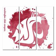 Washington State Cougars Triptych Watercolor Canvas Wall Art