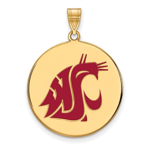 Washington State Cougars Sterling Silver Gold Plated Extra Large Enameled Disc Pendant