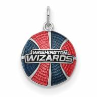 Washington Wizards Sterling Silver Enameled Basketball Pendant