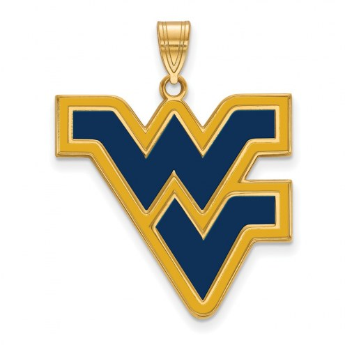 West Virginia Mountaineers Sterling Silver Gold Plated Extra Large Enameled Pendant