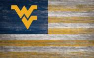"West Virginia Mountaineers 11"" x 19"" Distressed Flag Sign"