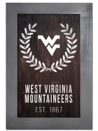 "West Virginia Mountaineers 11"" x 19"" Laurel Wreath Framed Sign"
