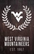 """West Virginia Mountaineers 11"""" x 19"""" Laurel Wreath Sign"""