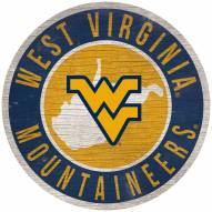 "West Virginia Mountaineers 12"" Circle with State Sign"