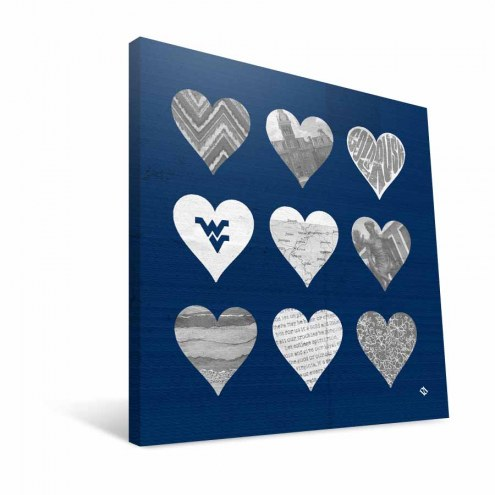 """West Virginia Mountaineers 12"""" x 12"""" Hearts Canvas Print"""