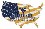 "West Virginia Mountaineers 15"" USA Flag Cutout Sign"