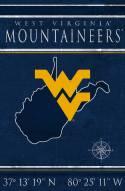 "West Virginia Mountaineers 17"" x 26"" Coordinates Sign"
